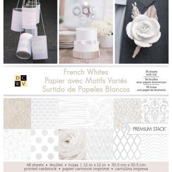 Набор односторонней бумаги French Whites W/Foil DCWV 30*30 см( 1/2 набора)