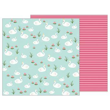 Лист двусторонней бумаги Pebbles TEALIGHTFUL - GRACEFUL SWANS 30*30 см