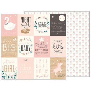 Лист двусторонней бумаги Pebbles  - NIGHT NIGHT - SWEET BABY GIRL 30*30 см