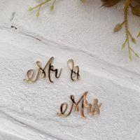 """Надпись из акрила """"Mr & Mrs"""", цвет золото"""