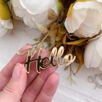 """Надпись из акрила """"Hello"""", цвет золото"""