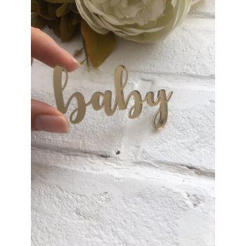 """Надпись из акрила """"baby"""", цвет золото"""