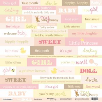Лист односторонней бумаги 30x30 от Scrapmir Inscriptions (ENG) из коллекции Doll Baby