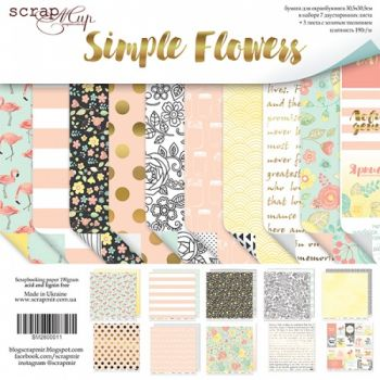 Набор двусторонней бумаги 30х30см от Scrapmir Simple Flowers 10шт