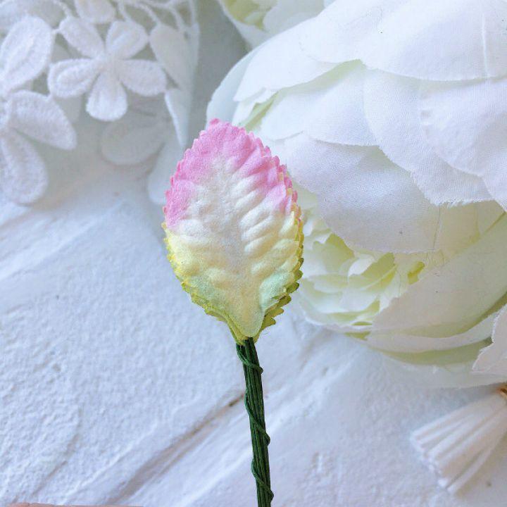 Листики розовые с зеленым 3 см