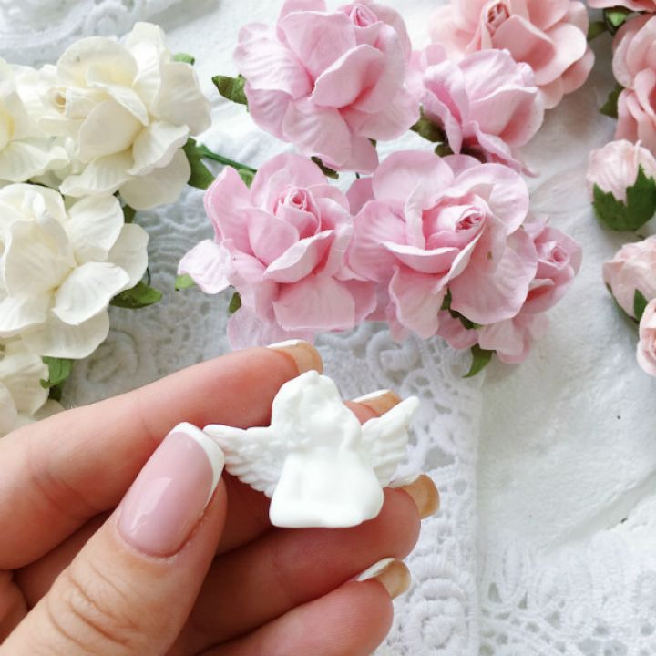 "Фигурка из пластика "" Ангел мечтающий"",цвет белый"