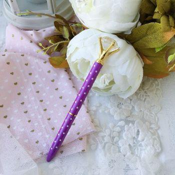 """Ручка шариковая """"Бриллиант"""" , цвет фиолетовый/белый горох"""
