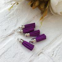 Замшевая кисточка 38 мм, цвет фиолетовый/серебряный колп.
