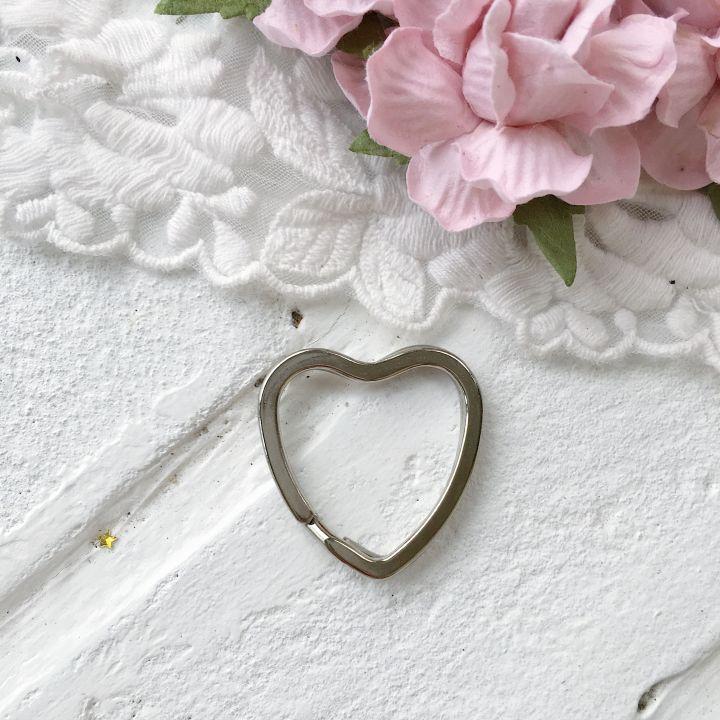 """Кольцо для брелка """"Сердце"""" 30 мм, цвет серебро"""