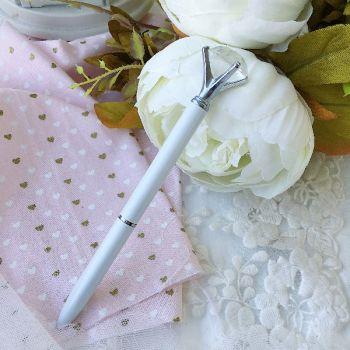 """Ручка шариковая """"Бриллиант"""" , цвет белый перламутровый/серебро"""
