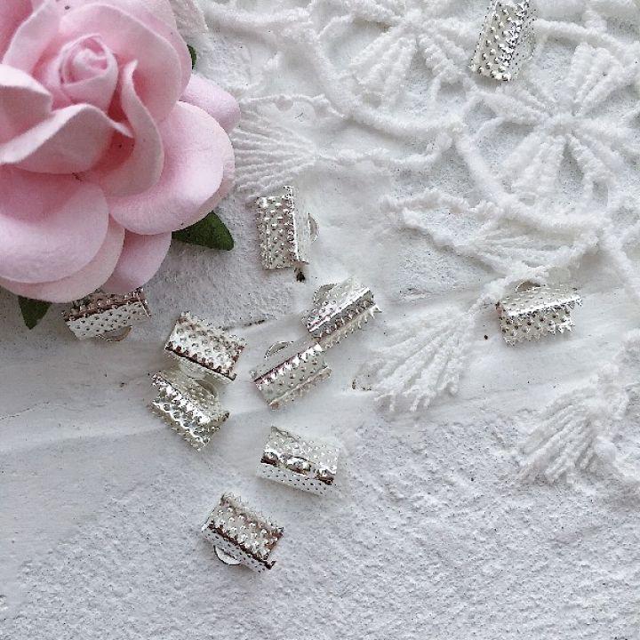 Зажим для ленты 10 мм, серебро