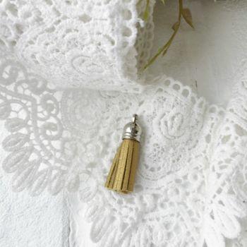 Кисточка из кожзама 38 мм, золотой/серебряный колп.