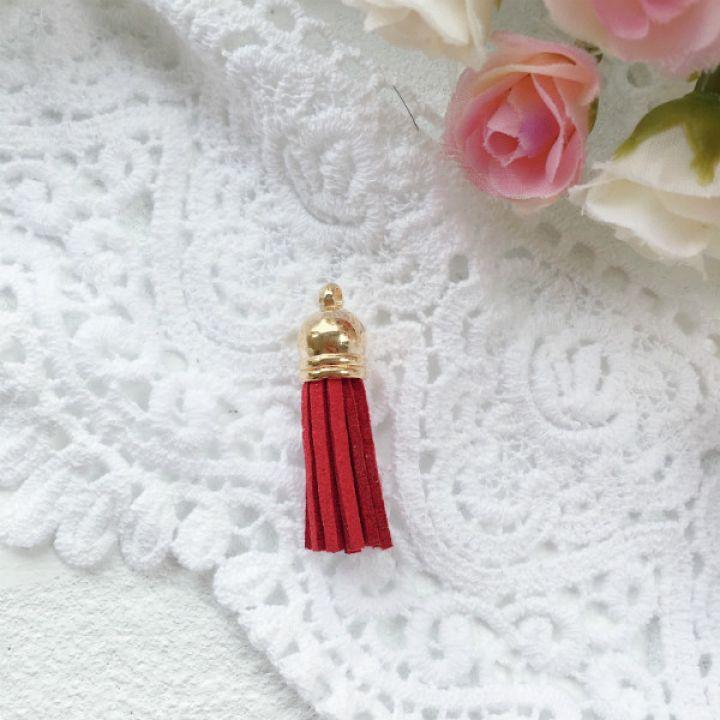 Замшевая кисточка 38 мм, цвет красный/золотой колп.