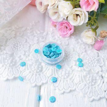 Пайетки 6 мм, цвет голубой