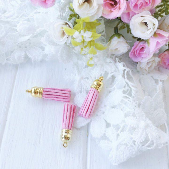 Замшевая кисточка 38 мм, цвет розовый/золотой колп.