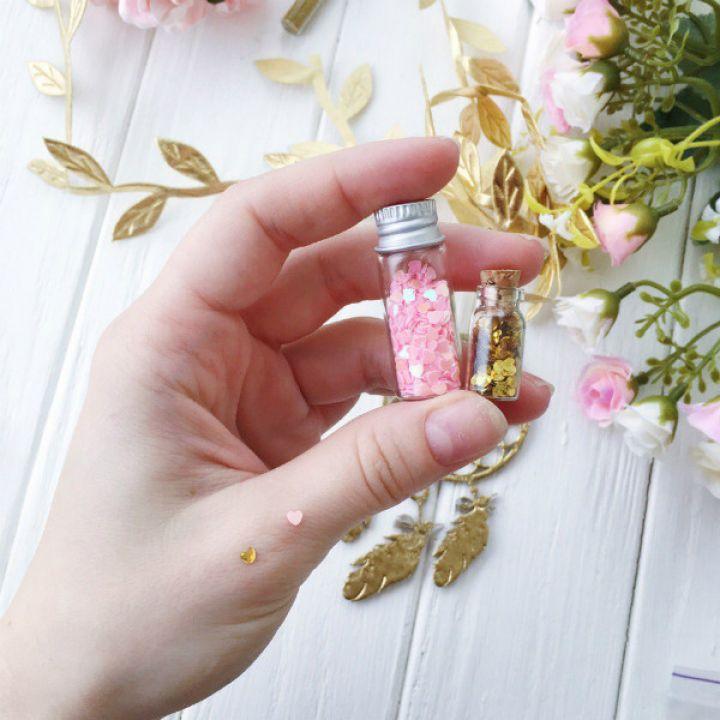 Пайетки 3 мм  в форме сердца, цвет розовый