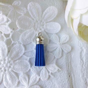 Замшевая кисточка 38 мм, цвет светло-синий/серебряный колп.