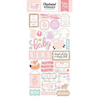 Высечки из чипборда  Echo Park  Hello Baby Girl Chipboard  - PHRASES