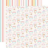 Лист двусторонней бумаги  Echo Park - Hello Baby Girl - Girl Mobiles 30*30 см