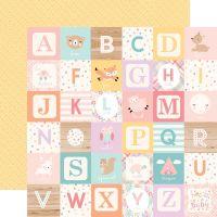 Лист двусторонней бумаги  Echo Park - Hello Baby Girl - Girl Alphabet Blocks 30*30 см