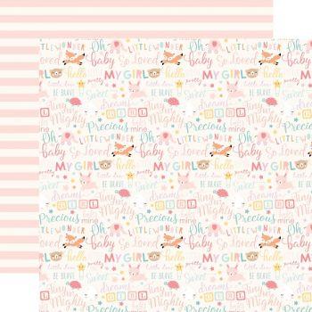 Лист двусторонней бумаги  Echo Park - Hello Baby Girl - Baby Girl Words 30*30 см
