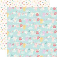 Лист двусторонней бумаги  Echo Park - Hello Baby Girl - Girl Clothesline 30*30 см