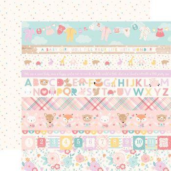 Лист двусторонней бумаги  Echo Park - Hello Baby Girl - Border Strips 30*30 см