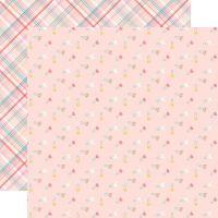 Лист двусторонней бумаги  Echo Park - Hello Baby Girl - Girl Diaper Pins 30*30 см