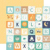 Лист двусторонней бумаги  Echo Park - Hello Baby Boy - Boy Alphabet Blocks  30*30 см
