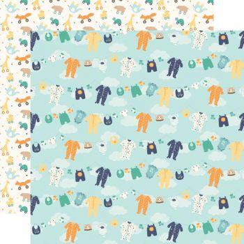 Лист двусторонней бумаги  Echo Park - Hello Baby Boy - Boy Clothesline  30*30 см