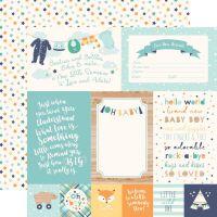 "Лист двусторонней бумаги  Echo Park - Hello Baby Boy - 4""X6"" Journaling Cards  30*30 см"