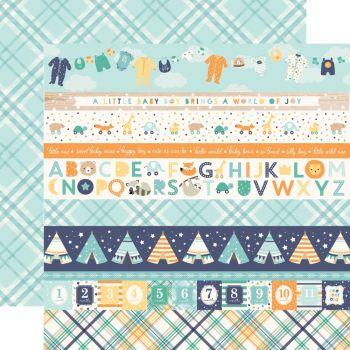 Лист двусторонней бумаги  Echo Park - Hello Baby Boy - Border Strips  30*30 см