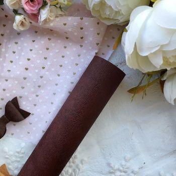 """Матовый переплетный кожзаменитель (фактура """" дерево""""), цвет коричневый 33*35 см"""