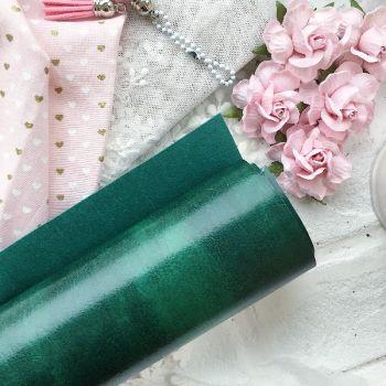 Глянцевый переплетный кожзаменитель, цвет малахитовый 35*25 см