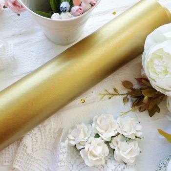 Глянцевый переплетный кожзаменитель, цвет золотой 35*25 см