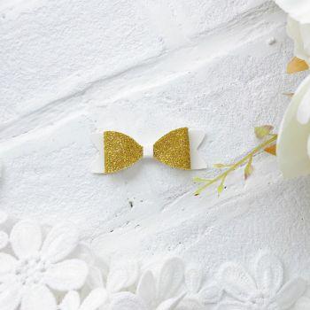 Набор для создания банта из кожзама 6*2 см, цвет белый матовый/золото 2