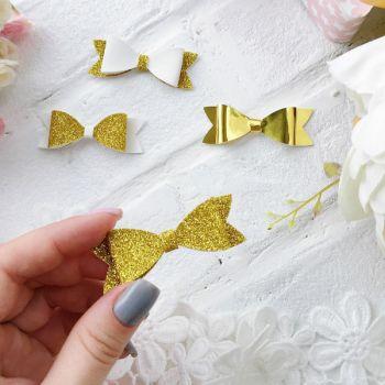 Набор для создания банта из кожзама 6*2 см, цвет Gold глиттер