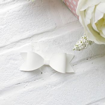 Набор для создания банта из кожзама 9*3 см, цвет белый матовый
