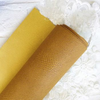 """Матовый переплетный кожзаменитель (фактура """"питон""""), цвет желтый 35*25 см"""