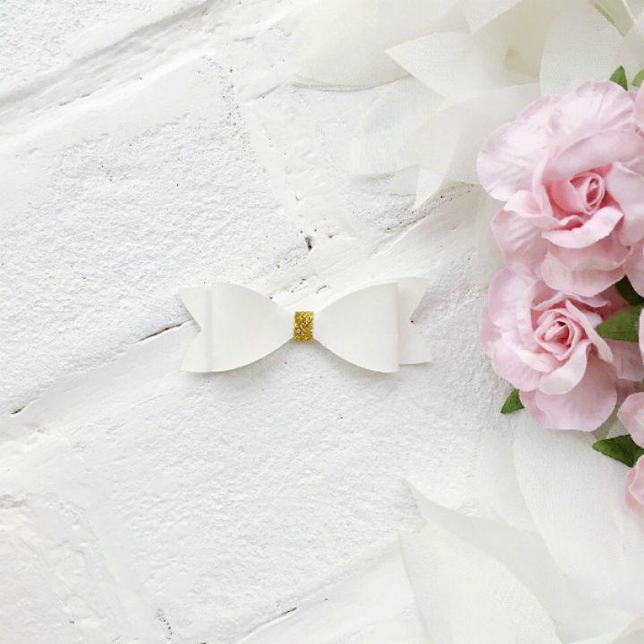 Набор для создания банта из кожзама 6*2 см, цвет белый матовый/золото