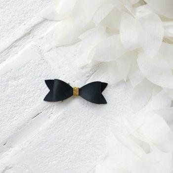 Набор для создания банта из кожзама 6*2 см, цвет черный матовый/золото