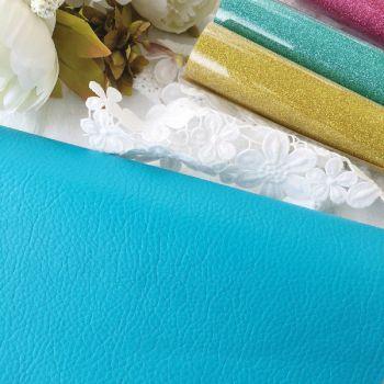 Кожзам текстурный, цвет бирюзовый матовый 50*28 см