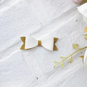 Набор для создания банта из кожзама 6*2 см, цвет белый матовый/золото 1