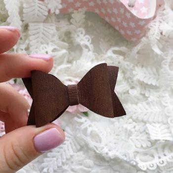 """Набор для создания банта из кожзама 6*3 см, цвет коричневый (фактура """"дерево"""")"""
