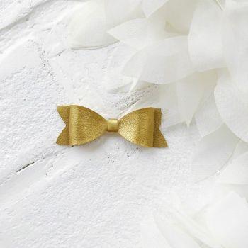 Набор для создания банта из кожзама 6*2 см, цвет золотой глянцевый
