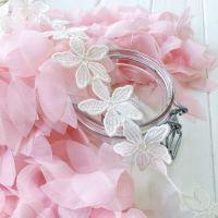"""Кружево """"Белые цветы"""", диаметр цветка  4,5 см"""