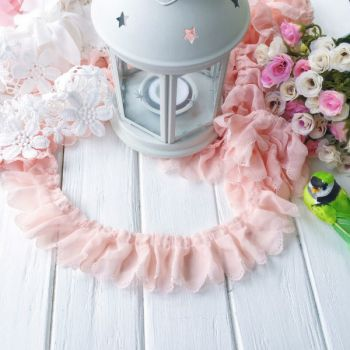 Шифоновая лента с рюшами, цвет персиковый