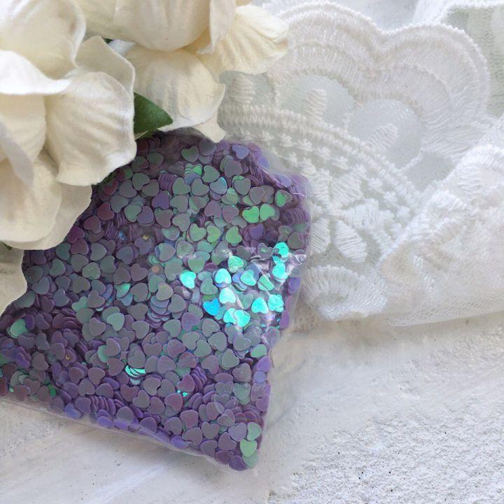 Пайетки 3 мм  в форме сердца, цвет лиловый