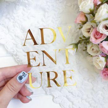"""Надпись """"Adventure"""", цвет Gold metallic"""