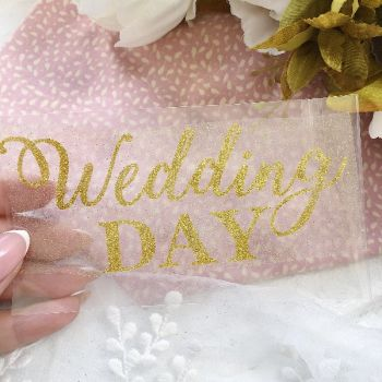 "Надпись ""Wedding day"", цвет Gold глиттер"